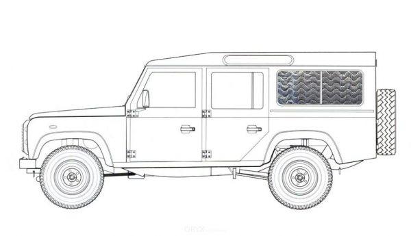 Thermomatten, für Land Rover Defender, Seite hinten, 2-tlg.