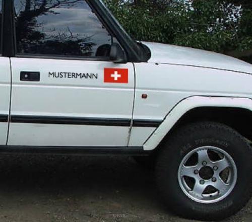 """Aufkleber """"Schweiz-Fahne"""" Version 2 schwarz, 100x150"""
