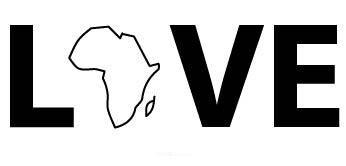 "Aufkleber ""Love Afrika"" schwarz, 150x70"