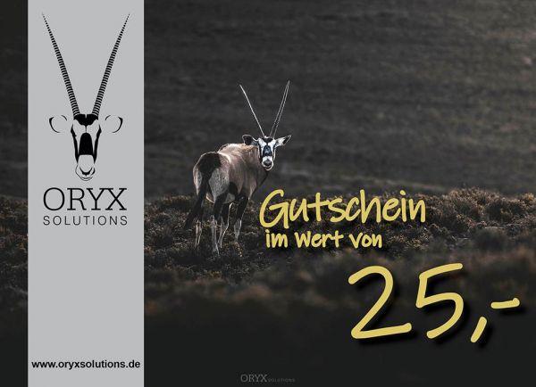 Geschenk - Gutschein im Wert von 25 Euro, Motiv: Oryx