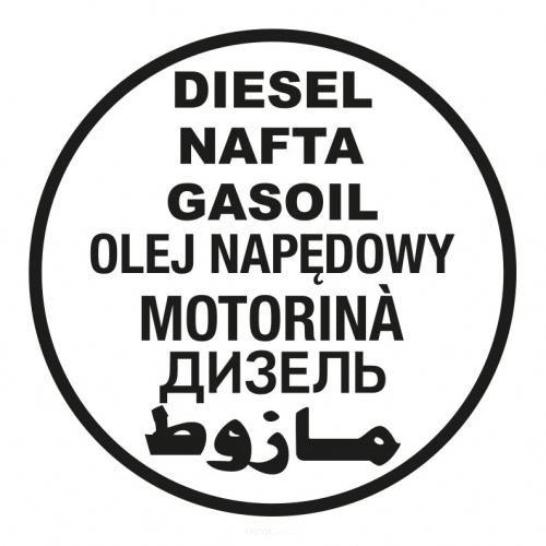 """Aufkleber """"Diesel"""" rund ca. 150mm 7-sprachig weiß"""