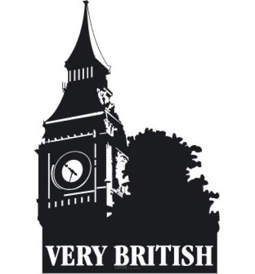"""Aufkleber """"Very British"""" schwarz, 150x210"""