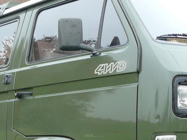 Aufkleber Set 4WD für Bus T3, silber