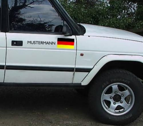 """Aufkleber """"Deutschland-Fahne"""" Version 2 weiß, 230x250"""