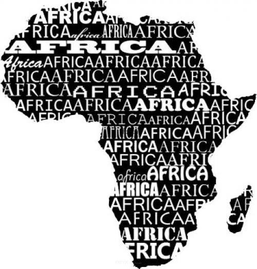 """Aufkleber """"Afrika"""" Version 3 schwarz, 250x250"""