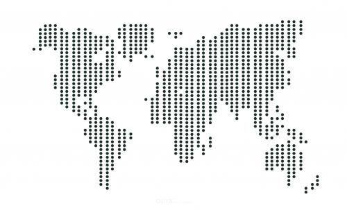 """Aufkleber """"Weltkarte"""" gepunktet schwarz, 300x190"""