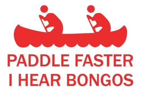 "Aufkleber ""paddle faster"" schwarz"
