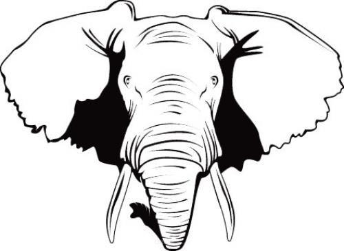 """Aufkleber """"Elefantenkopf"""" schwarz, 200x150"""