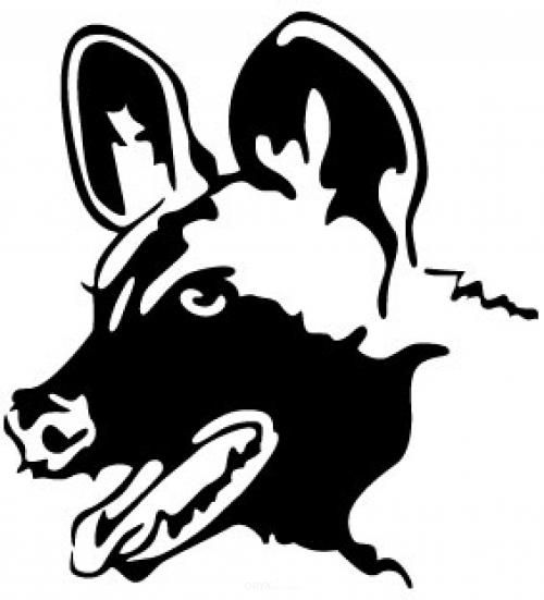 """Aufkleber """"Wildhund"""" weiß, 550x550"""