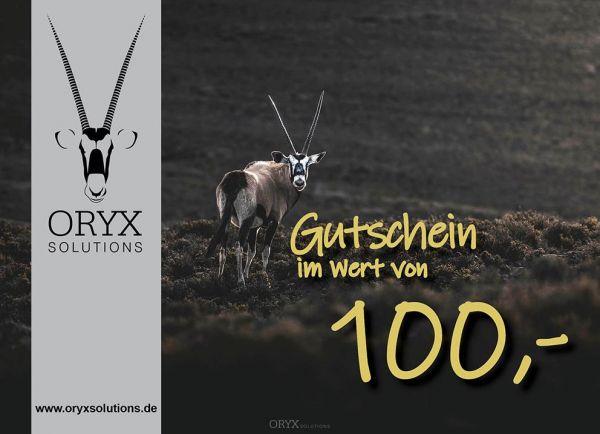 Geschenk - Gutschein im Wert von 100 Euro, Motiv: Oryx