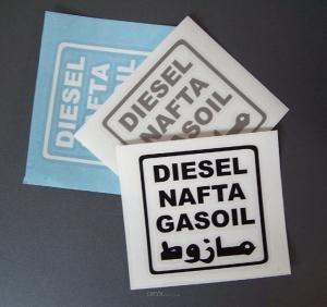 Diesel Aufkleber 4-sprachig braun