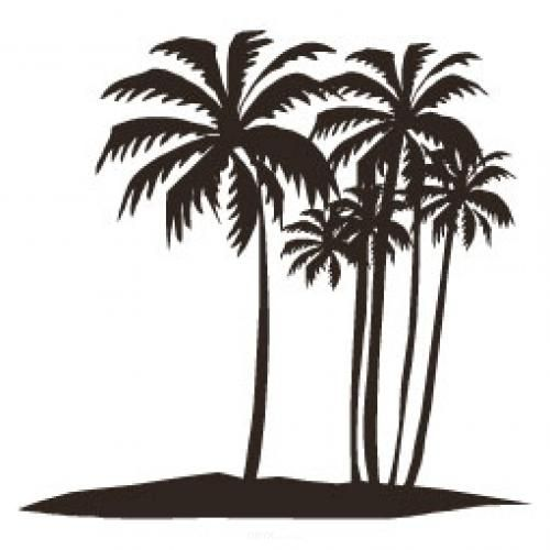 """Aufkleber """"Palmen"""" Version 2 braun"""