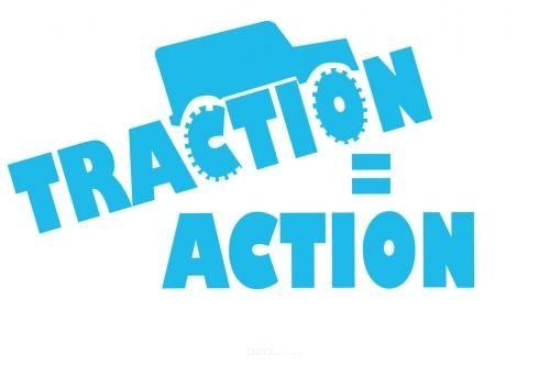 """Aufkleber """"Traction = Action"""" schwarz, 150x86"""