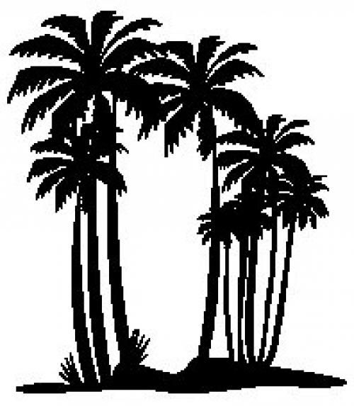 """Aufkleber """"Palmen"""" Version 1 schwarz, 180x200"""