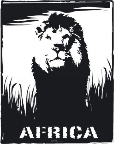 """Aufkleber """"Afrika Löwe"""" braun"""