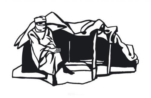 """Aufkleber """"Beduine mit Zelt"""""""