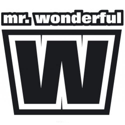 """Aufkleber """"Mr. Wonderful"""" weiß"""