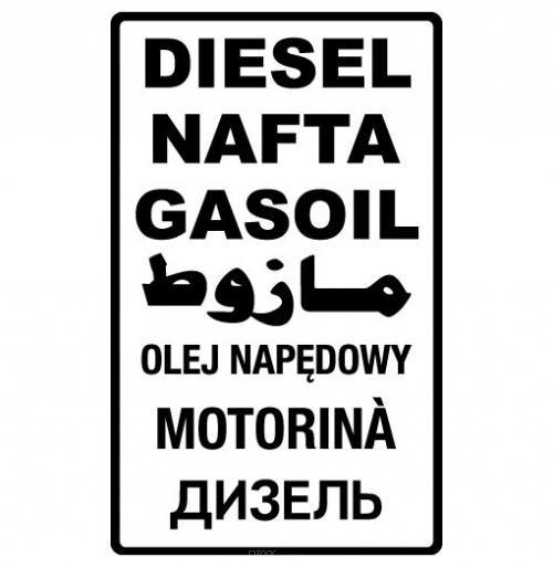 """Aufkleber """"Diesel"""" 7-sprachig braun"""