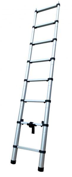 Teleskopierbare Aluminiumleiter, 230 cm Höhe, z.B. für Dachzelte