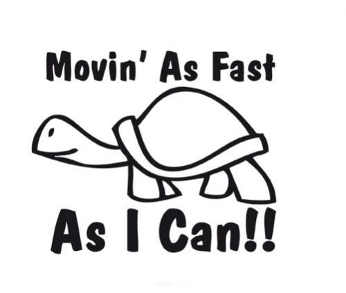 """Aufkleber """"Moving As Fast As I Can"""" braun"""
