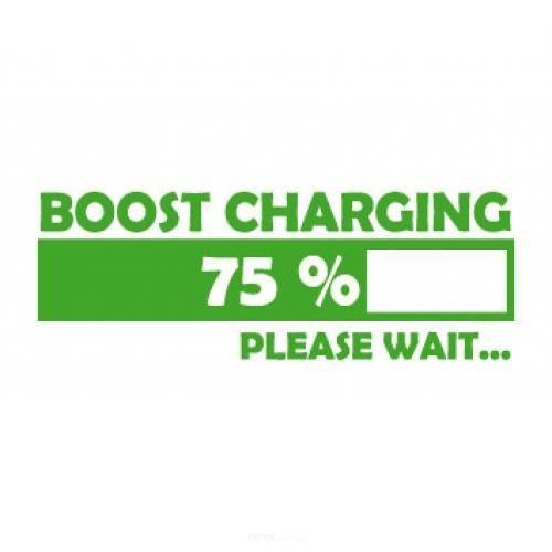 """Aufkleber """"Boost Charging"""" weiß, 200x75"""