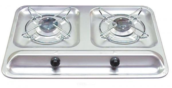 Domentic Kocher 2-flammig, Edelstahl, ca. 450x325mm