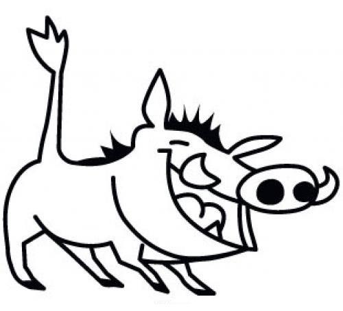 """Aufkleber """"Warzenschwein"""" braun"""