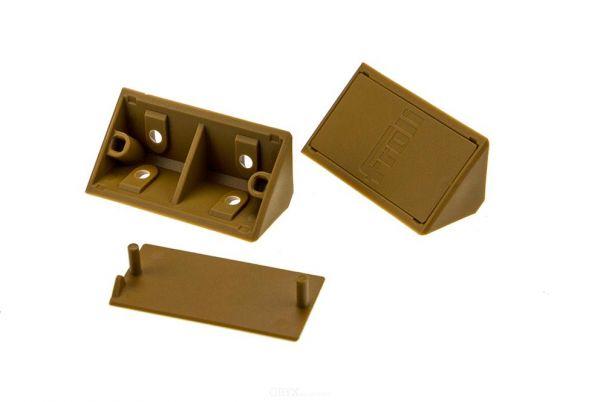 6 Stück Möbel-Eckverbinder, 60 mm, braun