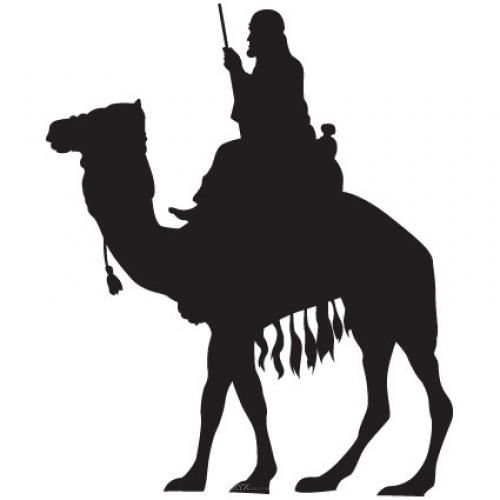"""Aufkleber """"Kamel mit Reiter"""" Version 3 schwarz, 150x180"""
