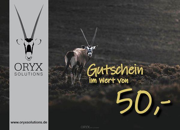 Geschenk - Gutschein im Wert von 50 Euro, Motiv: Oryx