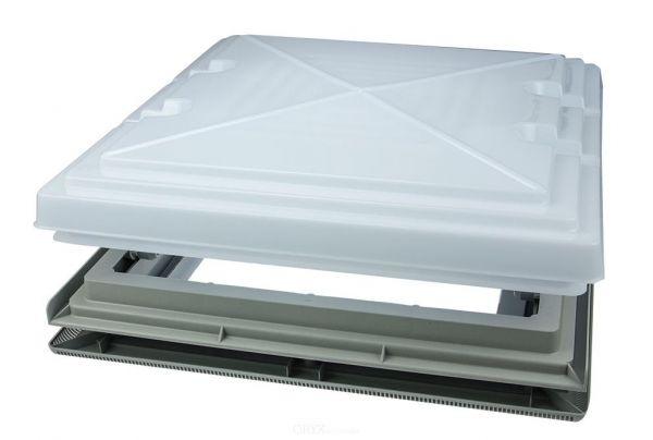 Dachhaube 400 x 400 mm mit Milchglas und Moskitonetz
