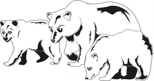 """Aufkleber """"Eisbären"""" schwarz, 200x110"""